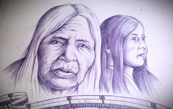 Drawing in purple and white wampum colors of an elderly woman and a young girl with a wampum belt in front of them