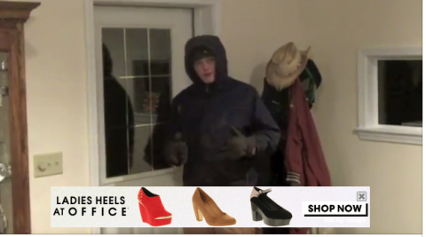 "Screenshot from the video with a YouTube ad for high heeled ""office"" shoes"