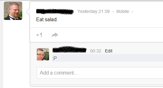 Him: Eat salad. Me: :P